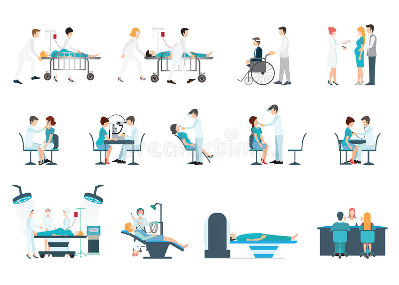 Personal médico y situaciones de los pacientes diversas fijadas stock de ilustración