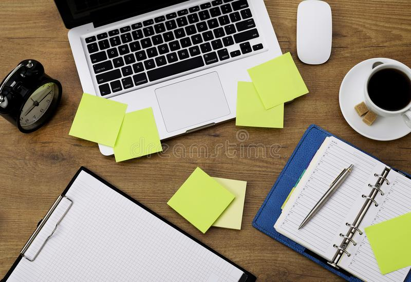 Agenda and office supplies royalty free stock photography