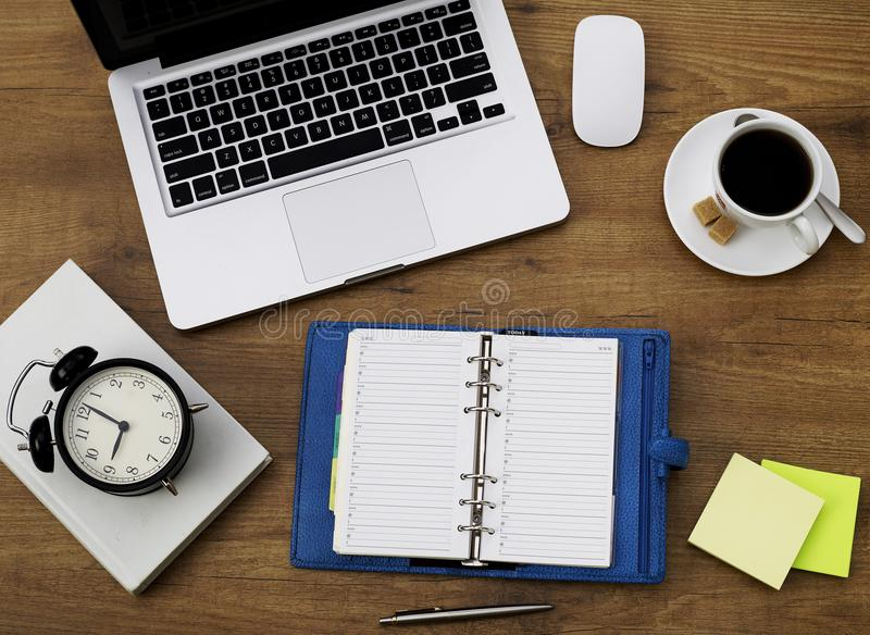Personal organizer on desk royalty free stock photography