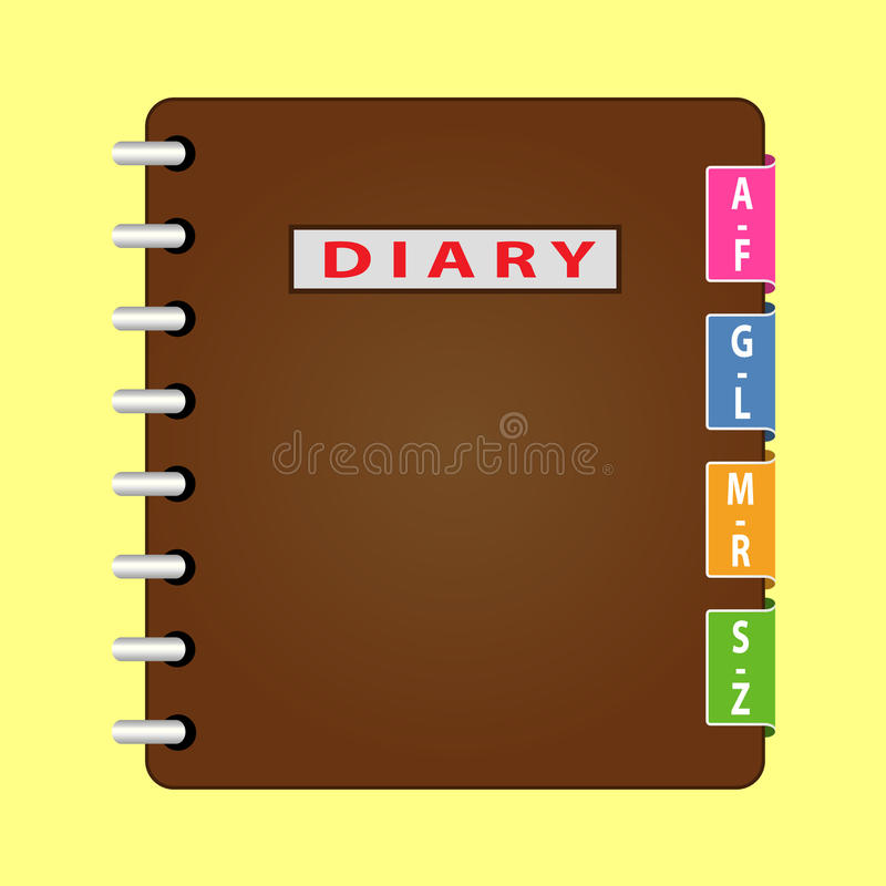 Personal organizer. Diary with brown cover. Vector royalty free illustration