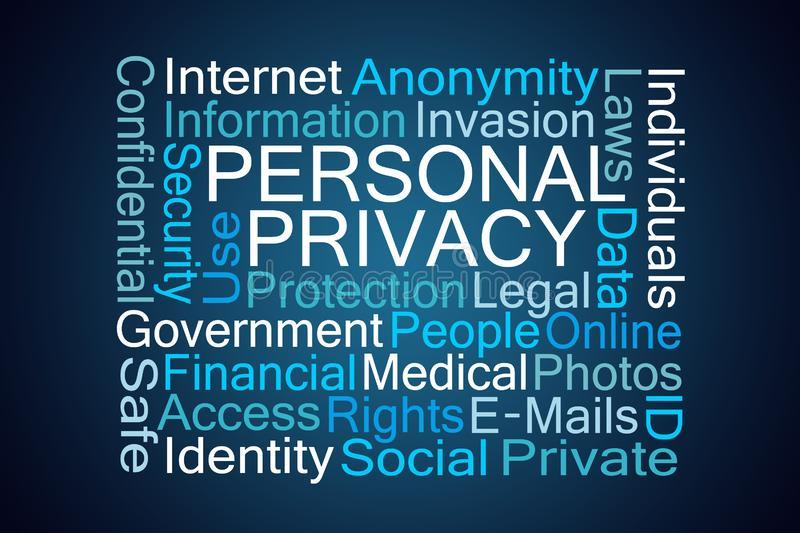 Personal Privacy Word Cloud stock illustration