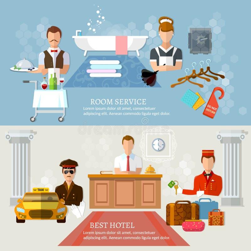Personal profesional del hotel de las banderas del servicio de hotel libre illustration
