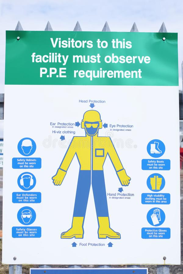 Personal protective equipment PPE diagram poster sign board for construction chemical war site health and safety stock image