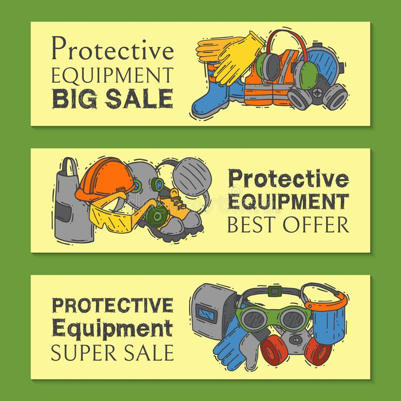 Personal protective equipment for safe work vector illustration. Big sale on health and safety supplies set of banners stock illustration