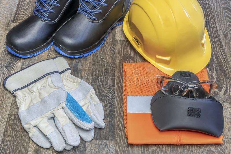 Personal protective equipment at work. Personal protective equipment for work where there is a possibility of injury at work royalty free stock photo