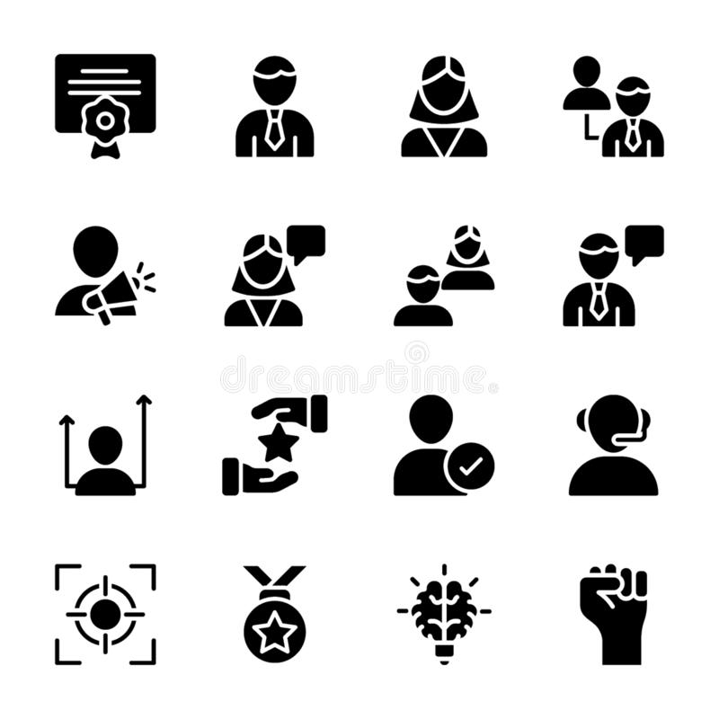 Personal Quality, Employee Management Solid Icons Pack stock illustration