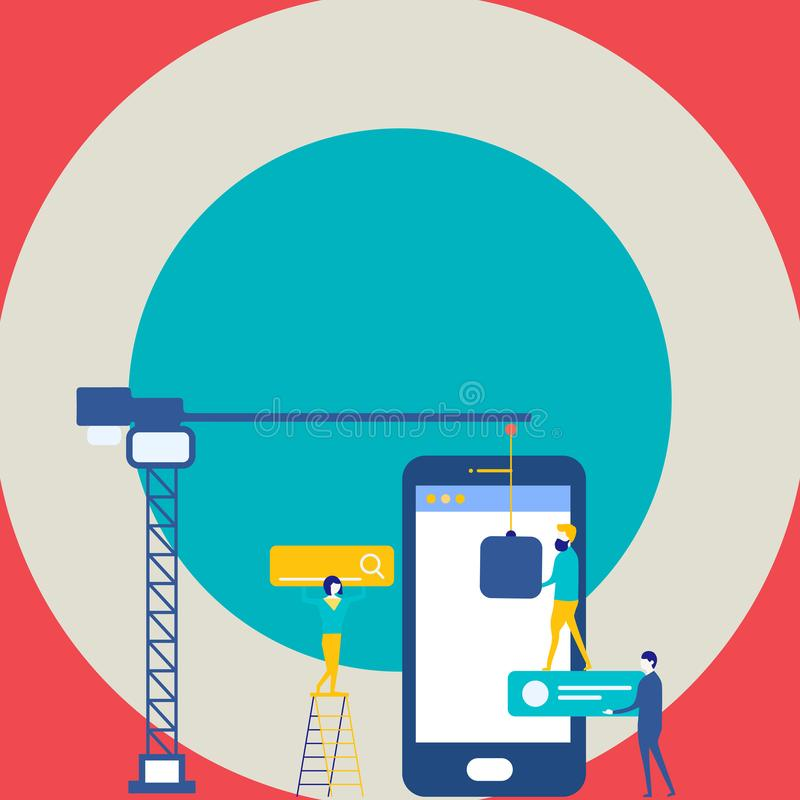 Personal que trabaja junto para la meta común de la blanco Proceso de la optimización del Search Engine e iconos de comercializac libre illustration