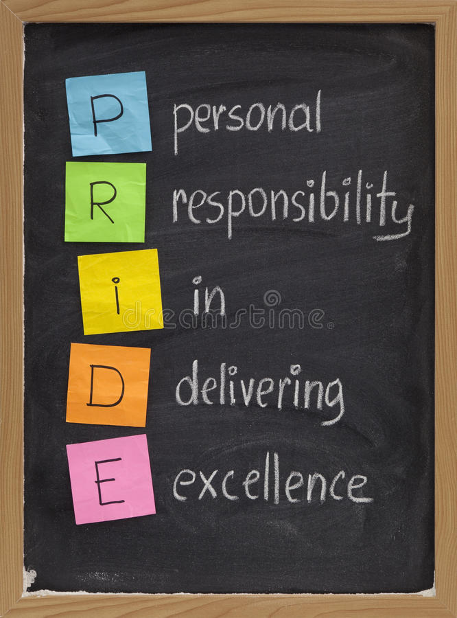 Personal responsibility in delivering excellence stock image