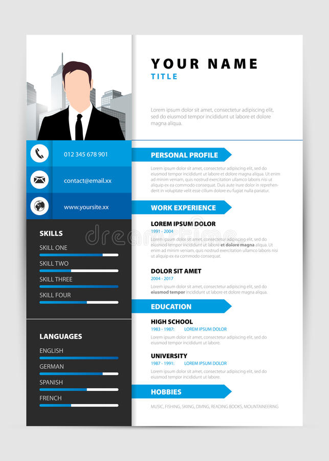 Personal Resume Modern Template In Blue Style Vector Stock Vector
