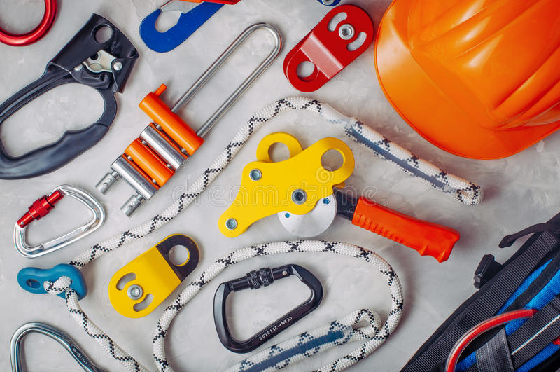 Download Personal Safety Equipment Using In Climbing Stock Image - Image of cave, lifting: 83713129