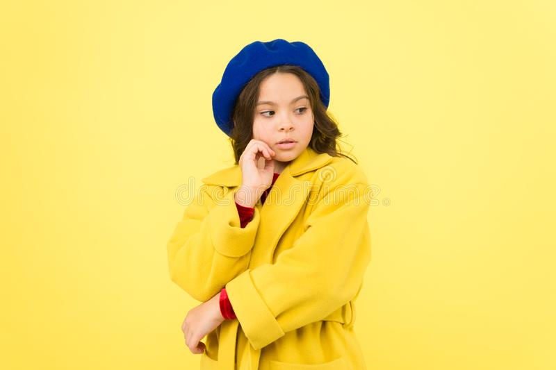 Personal styling and bespoke tailoring. Feeling cozy and comfortable in proper coat. Everyone needs coat this winter. Girl fashionable cute model wear yellow stock images
