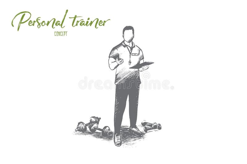 Personal trainer concept. Hand drawn isolated vector. vector illustration