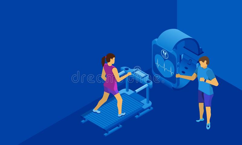 Personal trainer for the girl on the treadmill. Free space for text or information. Blue background. vector illustration