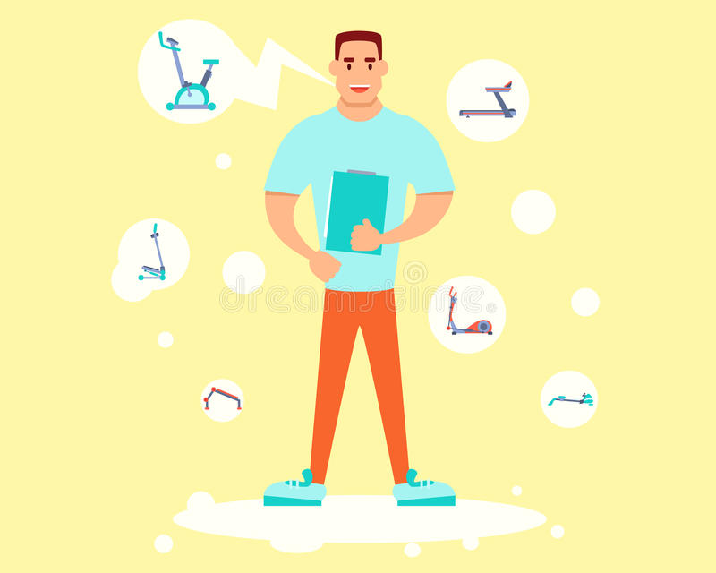 Personal trainer holding training plan. Personal trainer holding a training plan and tells about equipment. Flat design. Vector illustration stock illustration
