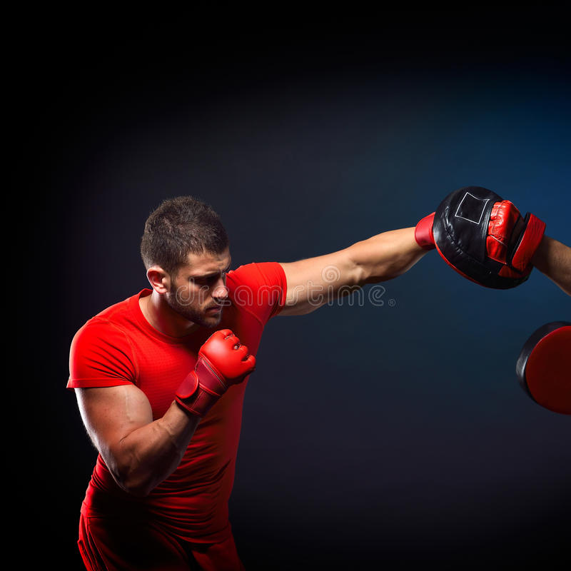 Personal trainer man coach and man exercising boxing. In the gym royalty free stock images
