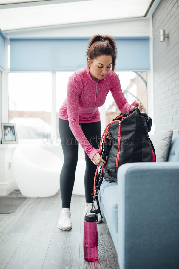 Personal Trainer Preparing for Work royalty free stock photos