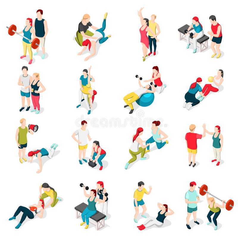 Personal Trainer Sport Icons. Personal sport trainer isometric icons set of isolated human characters of people performing exercises with coach vector royalty free illustration