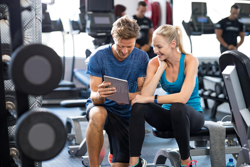 Personal Trainer with woman royalty free stock photos