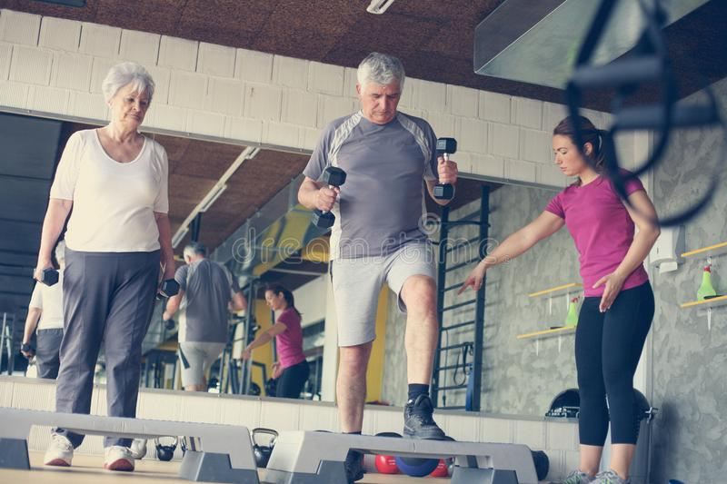 Personal trainer working exercise with senior couple. royalty free stock photo