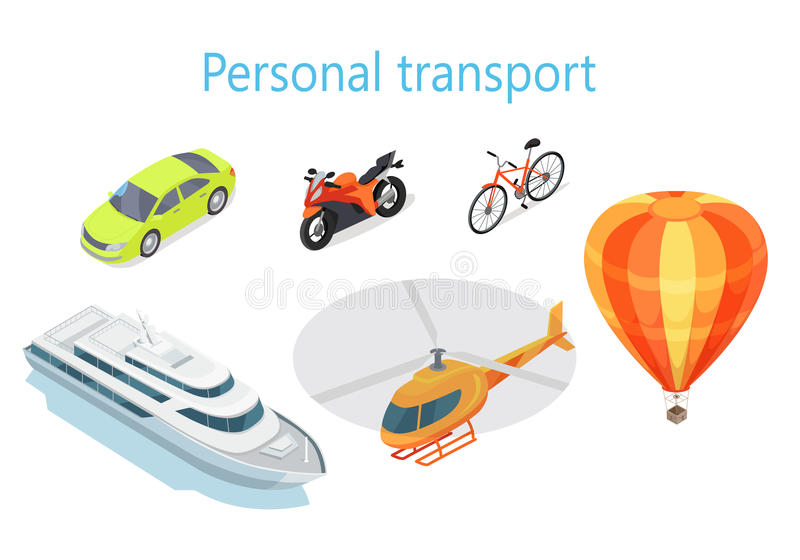 Personal Transport Infographic Statistics of Usage. Personal transport infographic. Boat. Car. Motorcycle. Bicycle. Helicopter. Balloon. Statistics of transport royalty free illustration