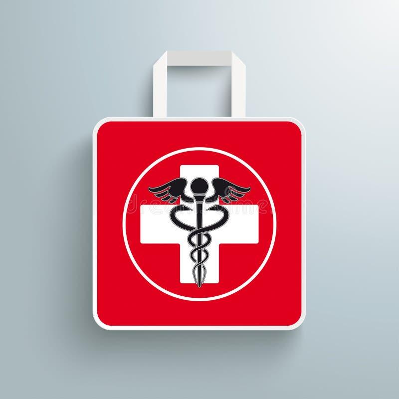 Personale Aesculapian del sacchetto della spesa dell'incrocio di carta rosso della farmacia illustrazione vettoriale
