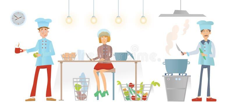 Personale del ristorante in uniforme che funziona nella cucina Il cuoco unico ed i suoi assistenti preparano l'alimento Illustraz illustrazione di stock