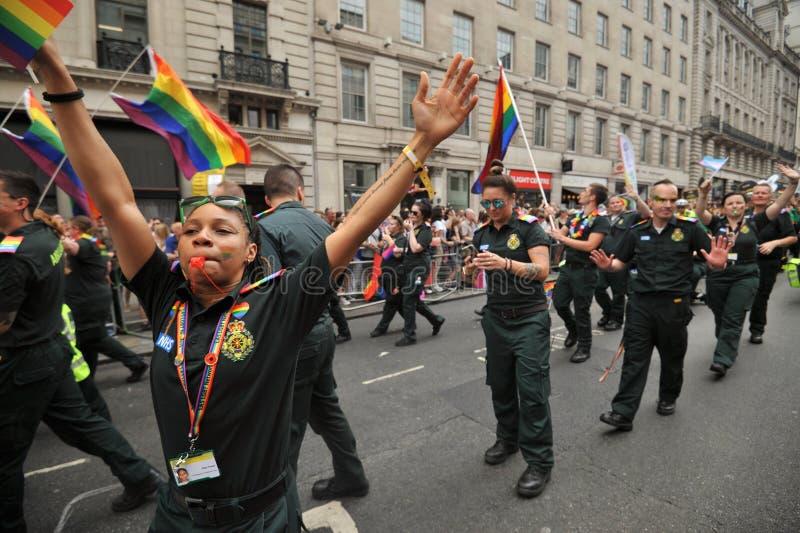Personale dell'ambulanza al gay pride a Londra, Inghilterra 2019 immagine stock