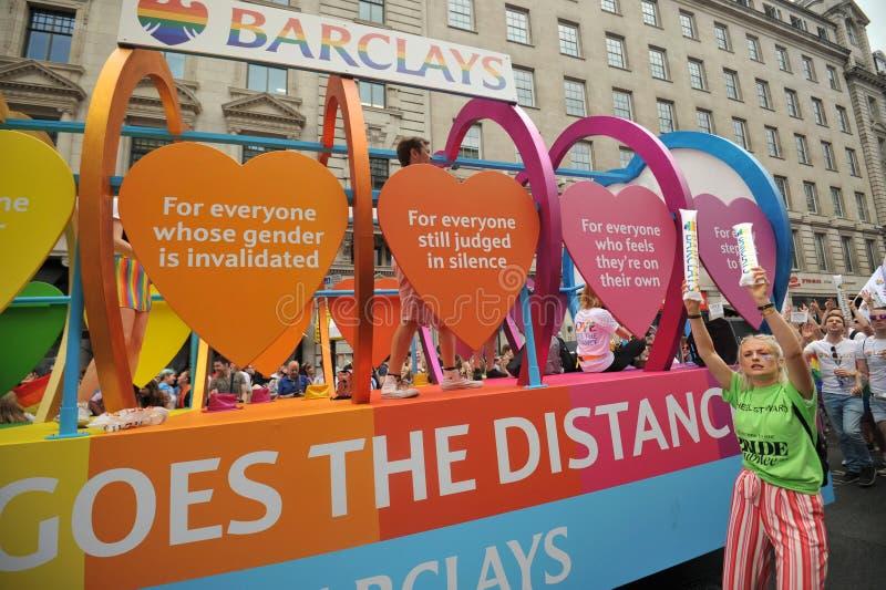 Personale della banca di Barclays al gay pride a Londra, Inghilterra 2019 fotografia stock libera da diritti