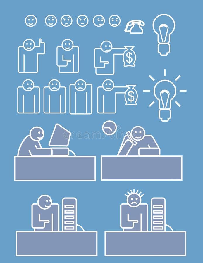Personale di affari che funziona duro illustrazione vettoriale