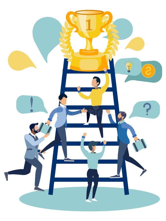 Personale di ufficio competere per la vittoria In quadro televisivo piano del fumetto minimalista di stile illustrazione di stock