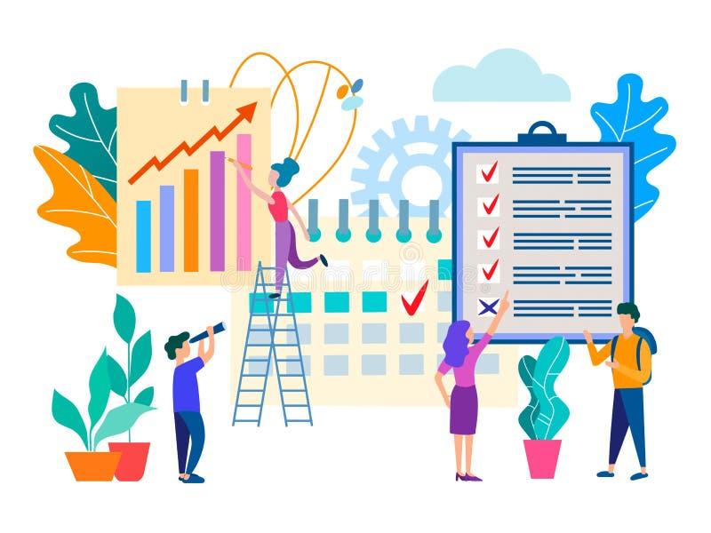 Personale di ufficio, lavoro di squadra, pianificazione di flusso di lavoro ed organizzazione illustrazione vettoriale
