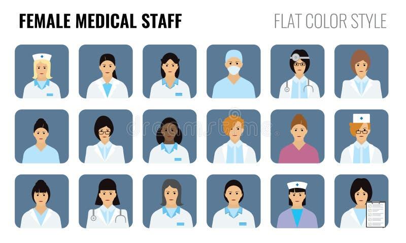 Personale medico femminile - icone della gente Insieme di medici delle donne illustrazione di stock