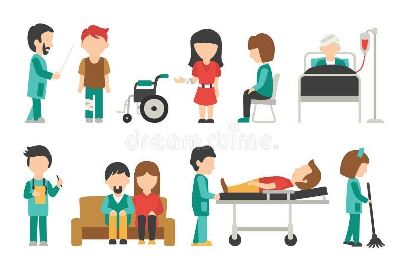 Personale medico piano, isolato su fondo bianco, medico, infermiere, cura, illustrazione di vettore della gente, editabile grafic illustrazione di stock