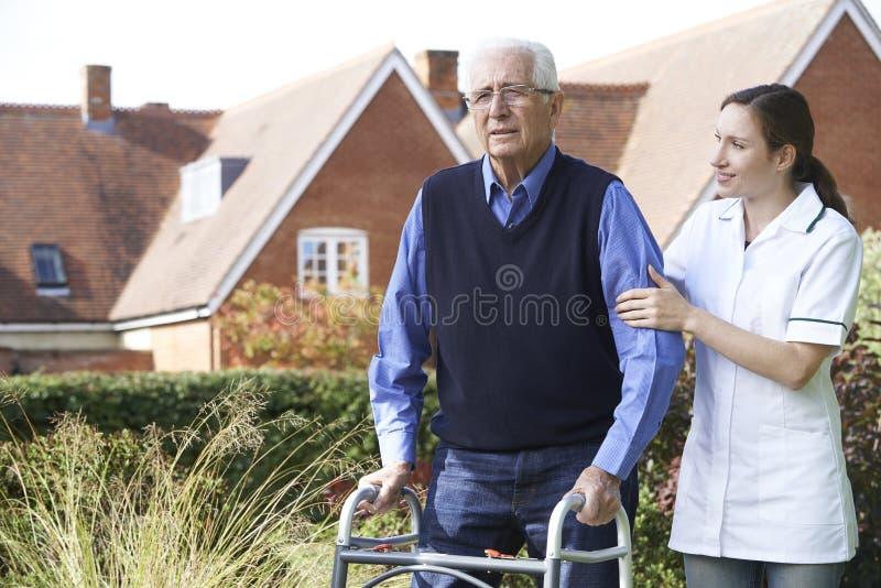 Personale sanitario che aiuta uomo senior a camminare in giardino facendo uso della struttura di camminata immagini stock libere da diritti