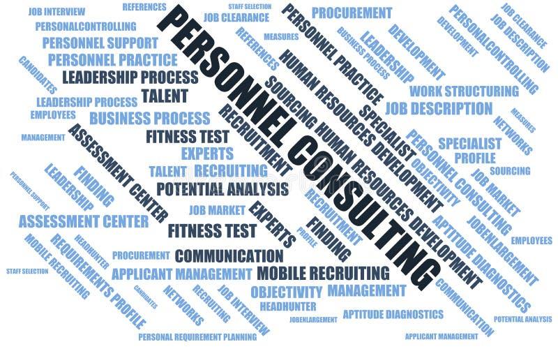Personaler som konsulterar - uttrycka molnet/wordcloud med uttryck om att rekrytera royaltyfri illustrationer