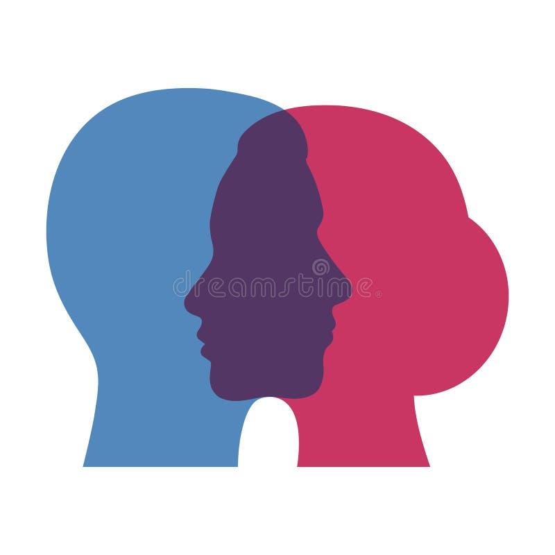 personalidad dual del extracto de la muestra, par en amor en un fondo blanco Diferencias y semejanzas entre el hombre y el concep ilustración del vector