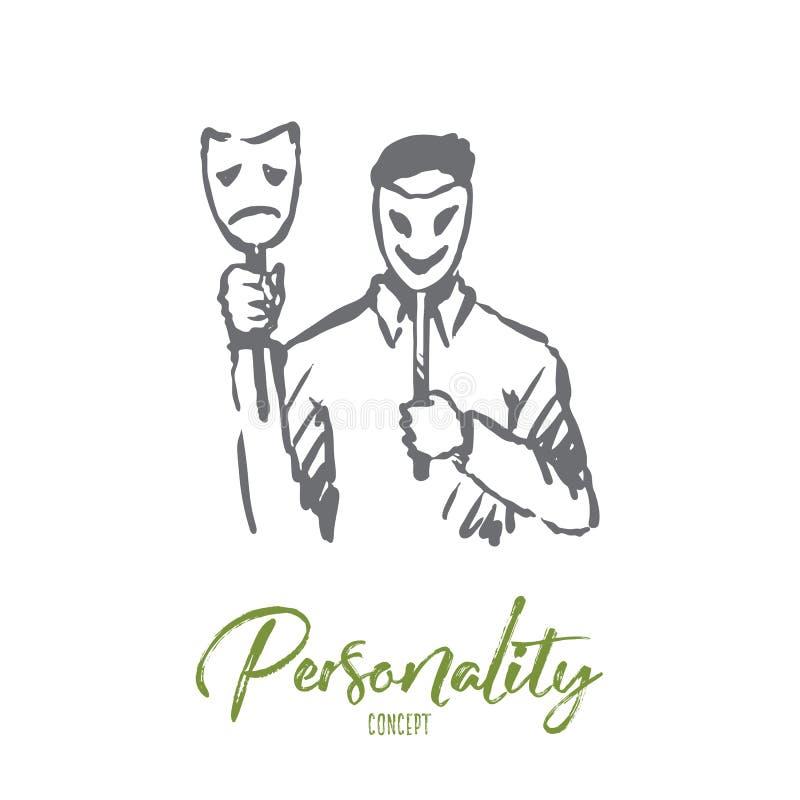 Personalidade, caráter, homem, cara, conceito da psicologia Vetor isolado tirado mão ilustração stock