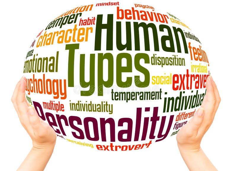 A personalidade humana datilografa o conceito da esfera da mão da nuvem da palavra ilustração stock