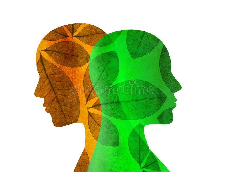 Personalidade rachada Mente da doença bipolar mental Desordem de humor Conceito duplo da personalidade Silhueta isolada com folha ilustração do vetor