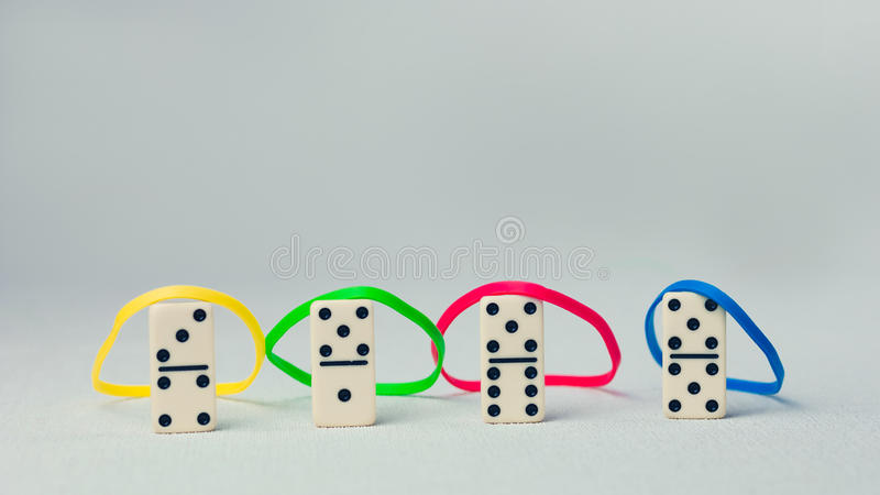Personality traits concept based on colour types. Dominance, inducement, submission, and compliance. Domino represent. Human person royalty free stock image
