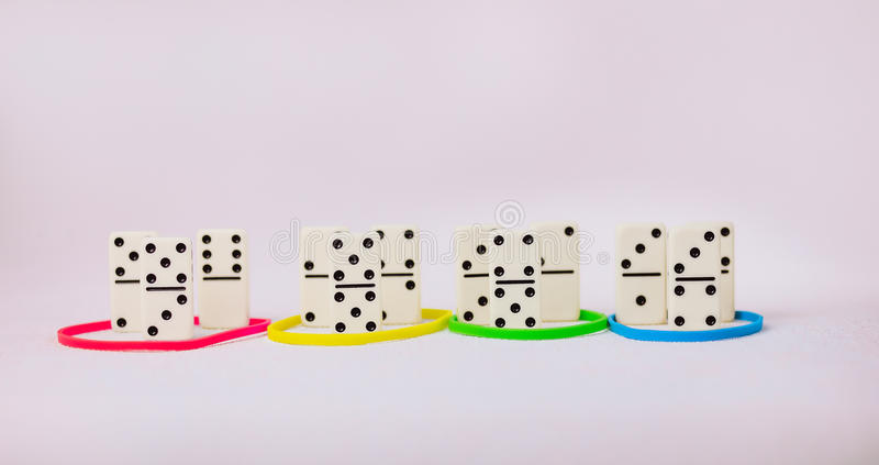 Personality traits concept based on colour types. Dominance, inducement, submission, and compliance. Group of Domino. Represent teams stock photography