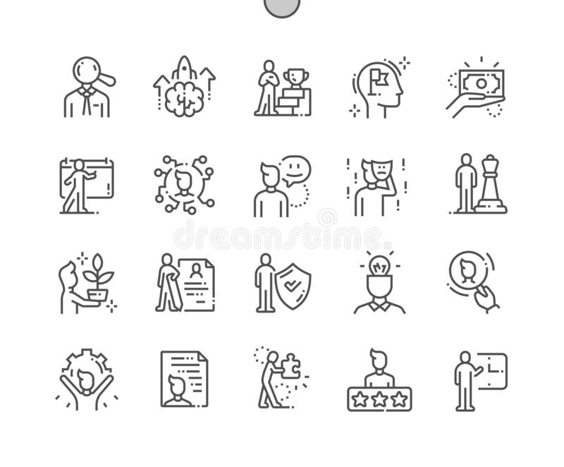 Personality Well-craftedVector Thin Line Icons royalty free stock photo