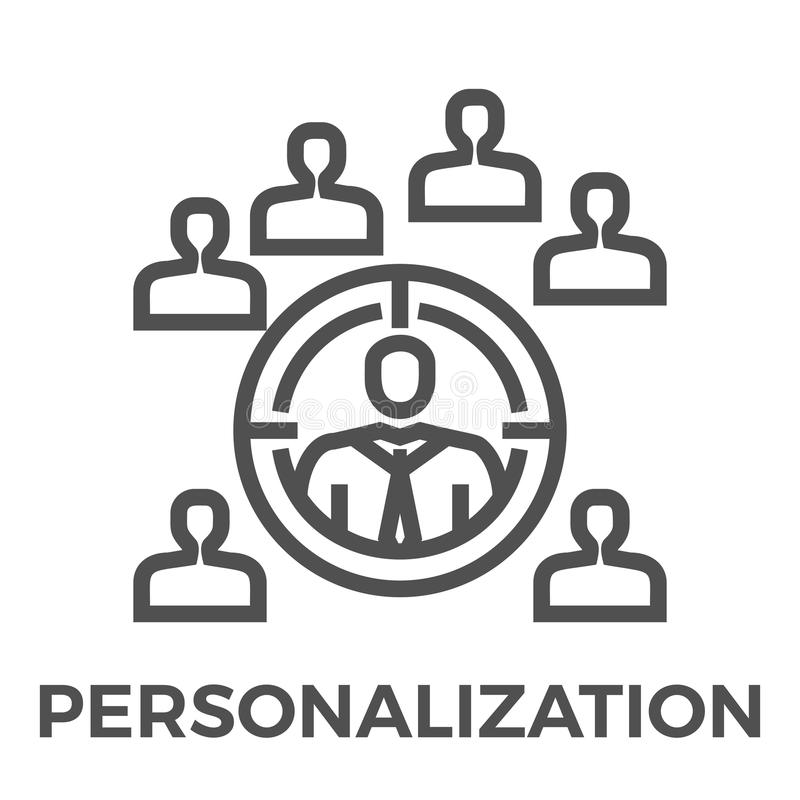 Personalization line icon stock illustration