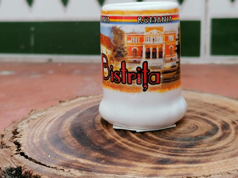 Personalized mug with pictures BistriÈ›a Romania Transilvania royalty free stock images