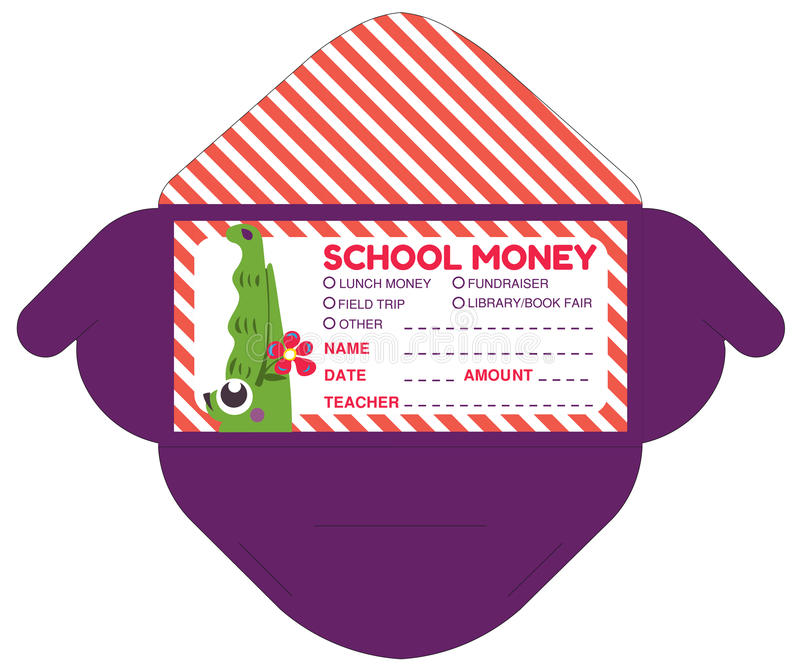 Personalized school money patches with teacher notes stock illustration