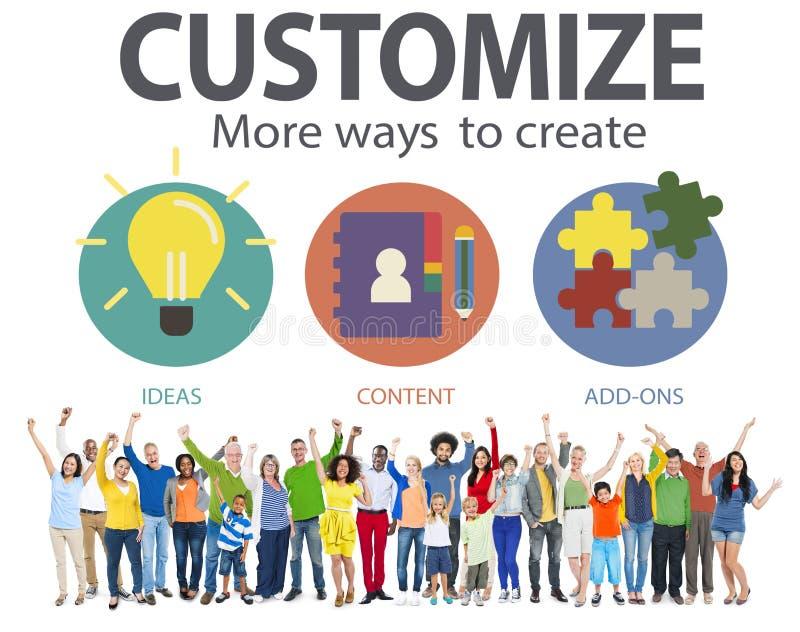 Personalizzi le idee l'innovazione di individualità che di identità personalizza il Co immagini stock libere da diritti