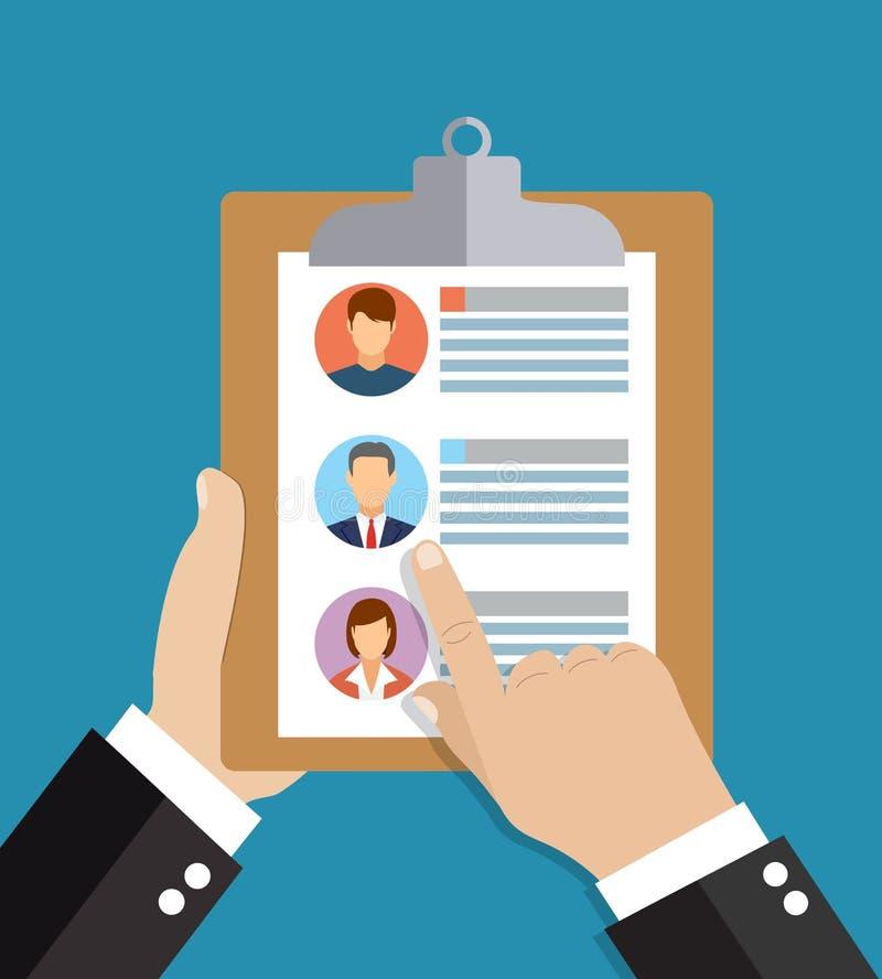 Personalresurser anställning, begrepp för illustration för lagledninglägenhet vektor illustrationer