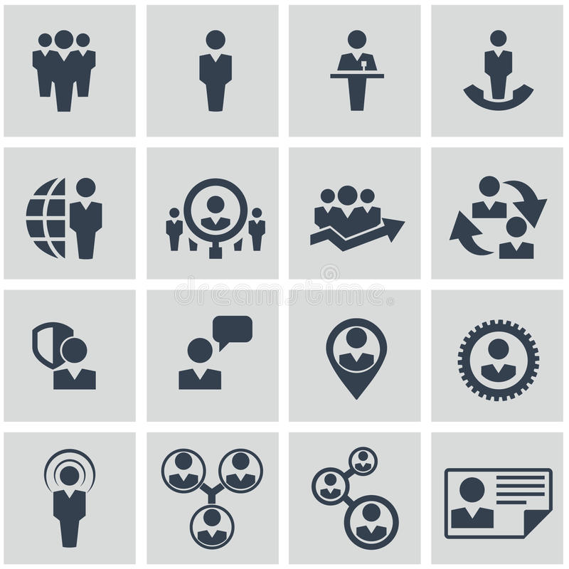Personalresurser och ledningsymbolsuppsättning. stock illustrationer