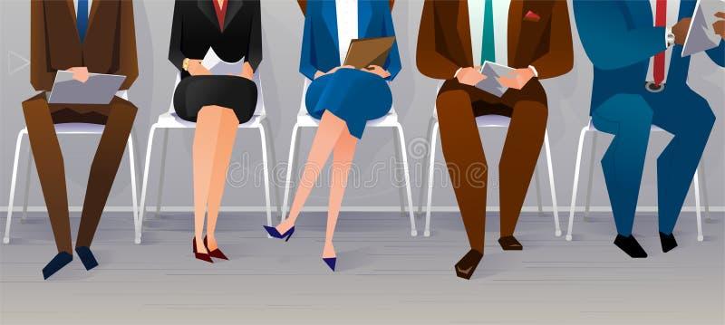 Personalresursintervjurekrytering balansera newton s för jobb för bollbegreppsvagga stock illustrationer