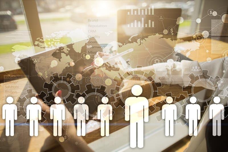 Personalresursledning, timme, rekrytering, ledarskap och teambuilding stock illustrationer